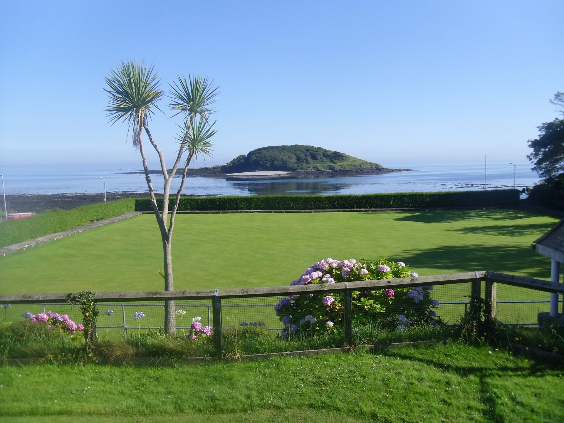 View from Looe Bowls Club of Looe island